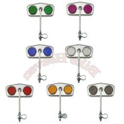 PAIR CHROME DIAMOND BICYCLE MIRRORS  W// BLUE REFLECTORS LOWRIDER CRUISER BIKE