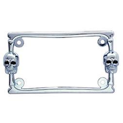 Chrome Metal Skull Motorcycle Bike License Plate Tag Frame H
