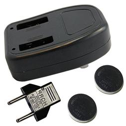 HQRP 2-pack Coin Rechargeable Battery w/ Charger for Sigma R