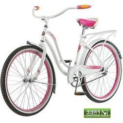 """Schwinn Cruiser Bike 24"""" Girls' White Pi"""
