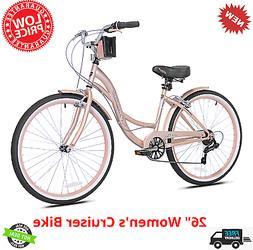 "Kent Cruiser Bike 26"" Women Comfort Beach Bicycle Shimano 7"