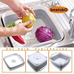 Foldable Dish Tub Washing Basin Collapsible Draining Pan Str