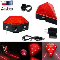 Cycling Bicycle Bike Rear Tail Safety Warning 8 LED+ 2 Laser
