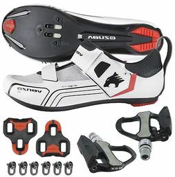 Venzo Cycling Bicycle Bike Triathlon Shoes with Pedals For S