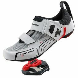 Venzo Cycling Bicycle Road Bike White Shoes with Clipless Pe