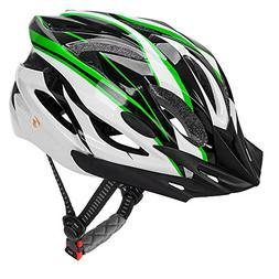 JBM Adult Cycling Bike Helmet, Green/Black/White