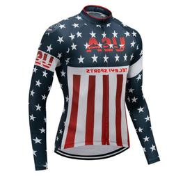 USA Men's Long Sleeve Cycling Jersey MTB Bike Clothes Cyclin