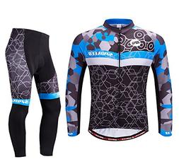 sponeed Men's Bike Jersey Long Sleeve Cycling Pants Shirt Fu
