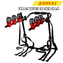 Deluxe Black 3-Bike Trunk Mount Bicycle Carrier Rack for Sed