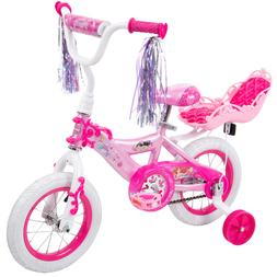 "12"" Huffy Disney Princess Girls' Bike with rear royal doll c"