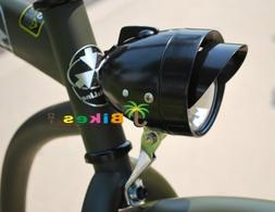 Classic Retro Black Bicycle Headlight with Visor for Lowride