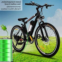Kemanner 26 inch Electric Mountain Bike 21 Speed 36V 8A Lith