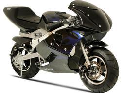 MotoTec 36v Electric Pocket Bike - Ride On Mini Bike Black -