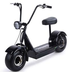 Electric Scooter Motorbike Black Big Tires 48V Battery Power