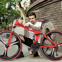 """Eurobike 26"""" Folding Mountain Bike Shimano 21 Speed Full Sus"""