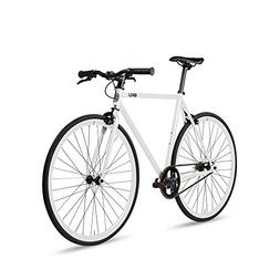6KU Evian 1 Fixed Gear Bicycle, Gloss White/White, 49cm