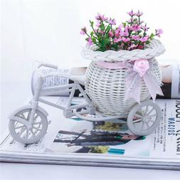 Excellent White Tricycle Bike Flower Basket Container For Fl