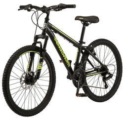"""Mongoose Excursion Mountain Bike, 24"""", 21 Speed, - Black/Neo"""