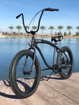 Fat Tire Beach Cruiser Bike- 26X3 BLACK 57mm Rims- 7spd-Rear