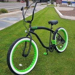 Fat Tire Beach Cruiser Bike- 26X3 GREEN WHEELS 57mm Rims- 7