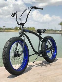 Fat Tire Beach Cruiser Bike 🌴 Flat Black w Blue  - 7 SPEE
