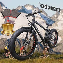 "NAKTO 26"" 300W Fat Tire Electric Bicycle Mountain Snow Beach"