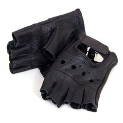 Fingerless Work Out Gloves Durable Leather Mens Womens Unise