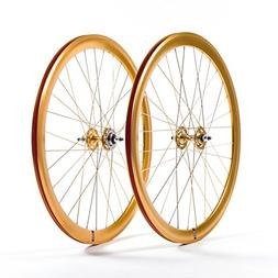 State Bicycle Fixed Gear/Fixie Machined Track Wheels , Gold/