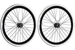 Fixie Freewheel Track Wheel Wheelset Deep V White+Tires CNC