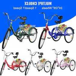 Foldable Adult Tricycle 24'' 26'' Wheels Adult Folding Tricy