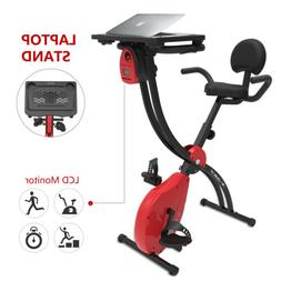 Stationary Exercise Bike Foldable Magnetic Resistance w/Lapt