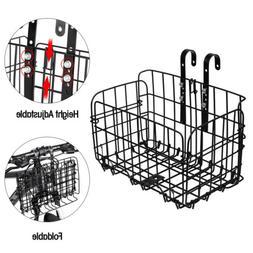 Folding Bicycle Bike Basket Front Rear Metal Wire Storage Ad