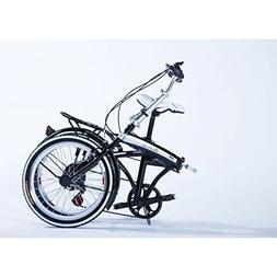 "20"" Folding Bicycle Shimano 6 Speed Bike Fold Storage Black"