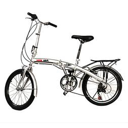 "Generic 20"" Folding Bike 6 Speed Bicycle Fold Storage Silver"