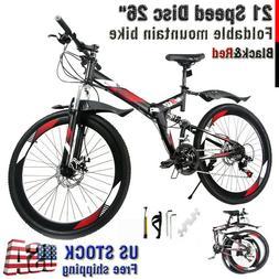 "Folding Mountain Bike 26"" Full Suspension Bicycle 21 Speed S"