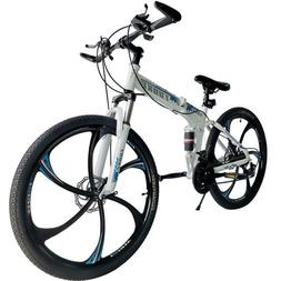 "Folding Mountain Bike 26"" Full Suspension Bicycle 21 Speed M"