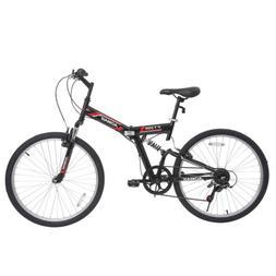 """26"""" Mountain Bike Folding Bicycle 7 Speed Shimano Hybrid Sus"""