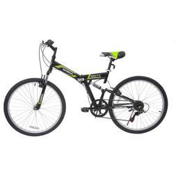 "26"" Folding Mountain Bike Hybrid Bike 7 Speeds Full Suspensi"