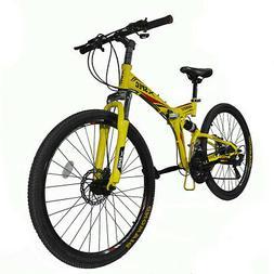 "Xspec 26"" 21 Speed Folding Mountain Bike Bicycle Trail Commu"