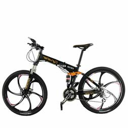 Cyrusher Folding Mountain Bike FR100 26 In 24 Speeds Full Su