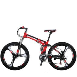 "G6 Folding Bike Mountain Bike 26"" 21 Speed Full Suspension B"