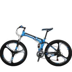 "G6 Mountain Bike 26"" 3 Spoke Wheel Full Suspension Folding B"