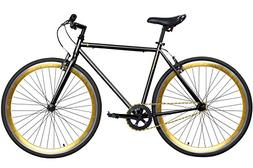 "Gama Bikes Alley Cat Men's Commuter Bike, Black/Gold, 20""/On"