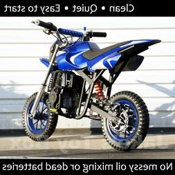 Gas Powered Kids Mini Dirt Bike 40cc Pit Bike - Blue & Silve