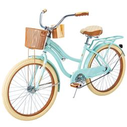 Girls Huffy Mint Green Bike 24' Cruiser Bicycle with Rear Ra