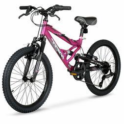 Girls Mountain Bike 20 Inch 7-Speed Magenta Steel Frame Dera