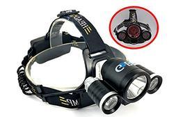 GoBo Headlamp Bike Flashlight ,White and Blue Super Bright L