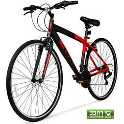"""Hybrid Fitness Bike 28"""" Red Aluminum Frame Men Sport City Bi"""