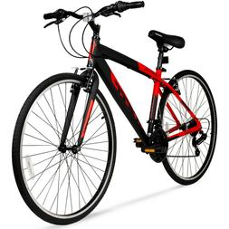 "Hybrid Fitness Bike 28"" Red Aluminum Frame Men Sport City Bi"