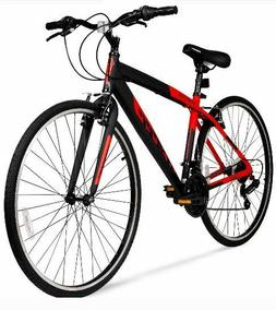 Hybrid Fitness Bike Red Aluminum Frame Men Sport City Bicycl